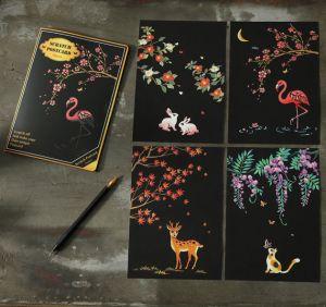 """Скретч набор Yuelu из 4-х скретч-открыток """"Природа"""""""