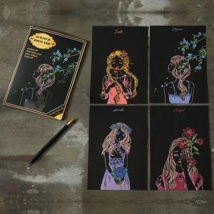 """Скретч набор Yuelu из 4-х скретч-открыток """"Красота"""""""