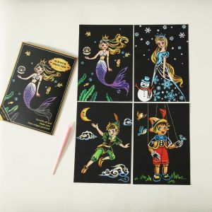 "Скретч набор Yuelu из 4-х скретч-открыток ""Сказки"""