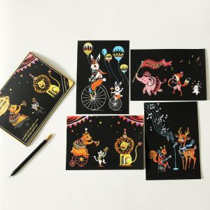 """Скретч набор Yuelu из 4-х скретч-открыток """"Удивительные животные"""""""