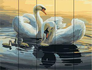 Лебеди на пруду. Раскраска по цифрам на дереве