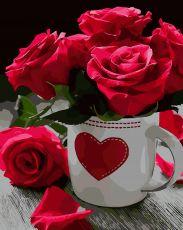 Яркие розы - Раскраска по номерам