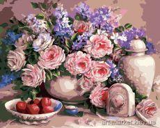 Чайные розы - Картина по цифрам