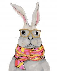 Белый кролик - Картина раскраска