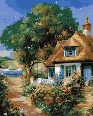 Милый домик - Картина-раскраска