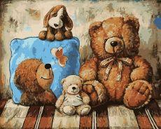 Плюшевые друзья - Картина раскраска
