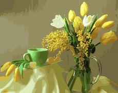 Желтые тюльпаны - Раскраска по номерам без коробки
