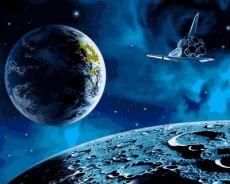 На луну и обратно - Картина-раскраска