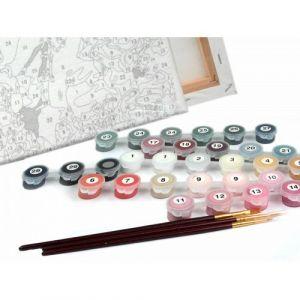 Розовые хризантемы - Набор для рисования
