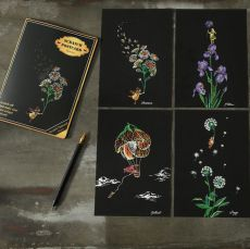 """Скретч набор Yuelu из 4-х скретч-открыток """"Цветы"""""""
